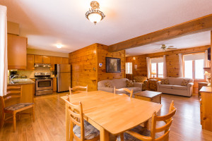 kitchen and living room of calabogie lodge suite